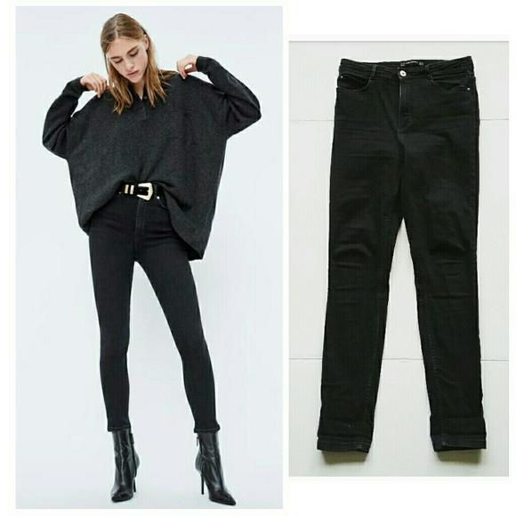 Zara Denim - Zara High Rise Waist Black Stretch Skinny Jeans
